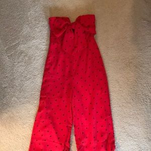 Lulu's red patterned jumpsuit